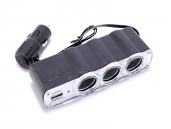 Roztrojka, nabíjačka do auta 3 výstupy 1 USB
