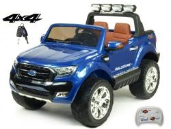 Dvojmiestny Ford Ranger Wildtrak 4x4 náhon všetkých EVA kolies, 2,4G DO, bluetooth, FM, USB, TF, otváracími dverami, kapotou, čelom, 2xbatérie, modrá metalíza