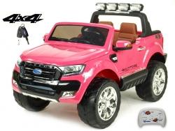 Dvojmiestny Ford Ranger Wildtrak 4x4 náhon všetkých EVA kolies, 2,4G DO, bluetooth, FM, USB, TF, otváracími dverami, kapotou, čelom, 2xbatérie, ružový lakovaný