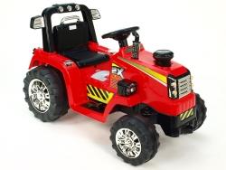 Traktor 12V, s mohutnými kolesami a konštrukcií, zvukovými a svetelnými LED efekty, 2xnáhon, červený