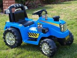 Traktor 12V, s mohutnými kolesami a konštrukcií, zvukovými a svetelnými LED efekty, 2xnáhon, modrý