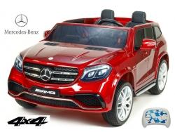 Dvojmiestny Mercedes GLS63 4x4 s náhonoch všetkých EVA kolies, 2,4G DO, LED osvetlenie, pruženia, voltmeter, FM, USB, TF, čalúnené sedačky, lakovaný metalízou,