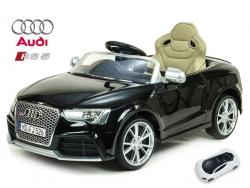 Audi RS5 s 2,4G DO, SD kartou, zvuk a LED efekty, voltmetrom, čalúneným sedadlom, čierna lakovaná