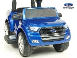 Ford Ranger pre najmenších, 6V elektrické autíčko s vodiacou tyčou, strieškou, madlami, 2 opierky, Mp3, TF card, lakovaná modrá metalíza,